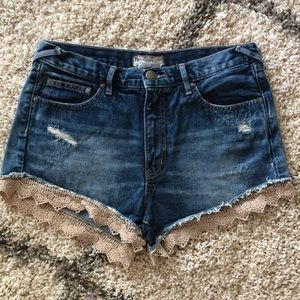 Free People high waist lace trim denim jean shorts